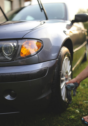 washing a car